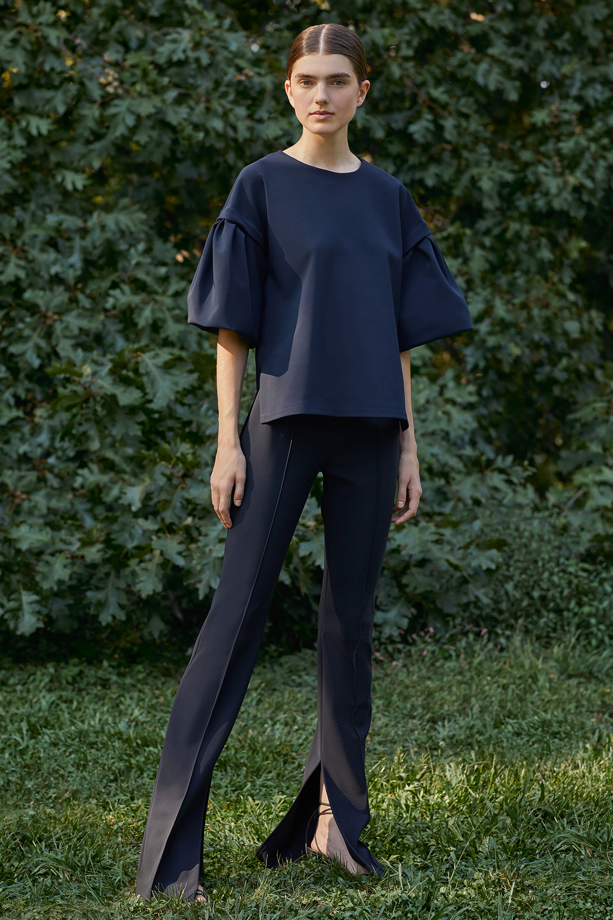 FLUTTER SLEEVE TOP IN BONDED NEOPRENE