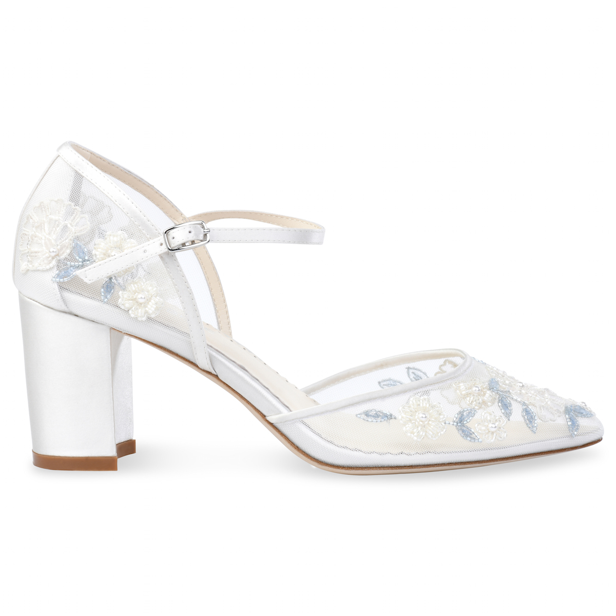 2103353d4f4b3 Baby Blue Floral Lace Ivory Wedding Block Heel | Bella Belle