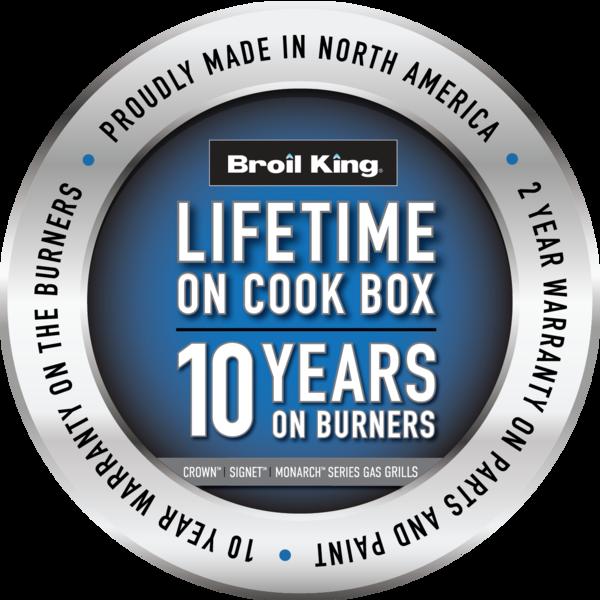 Lifetime on Cook Box 10 Year on Burners Warranty