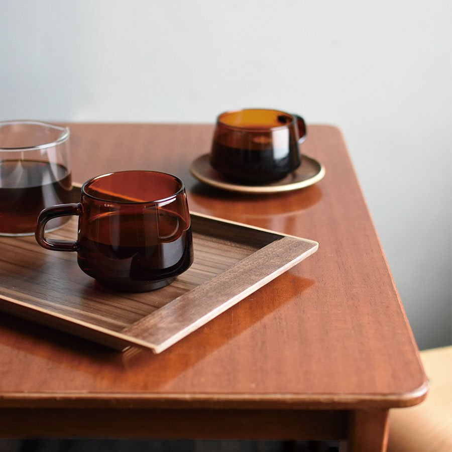 KINTO SEPIA NONSLIP TRAY 360×180MM / 14X7IN WALNUT