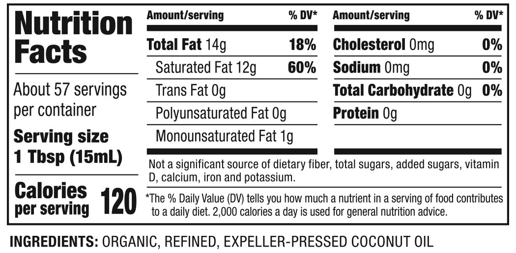 Organic Refined Coconut Oil Nutrition Facts