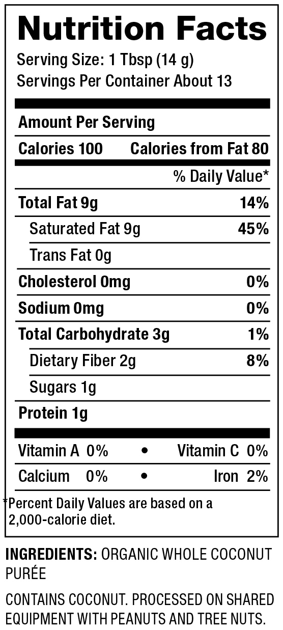 Organic Coconut Manna Nutrition Facts