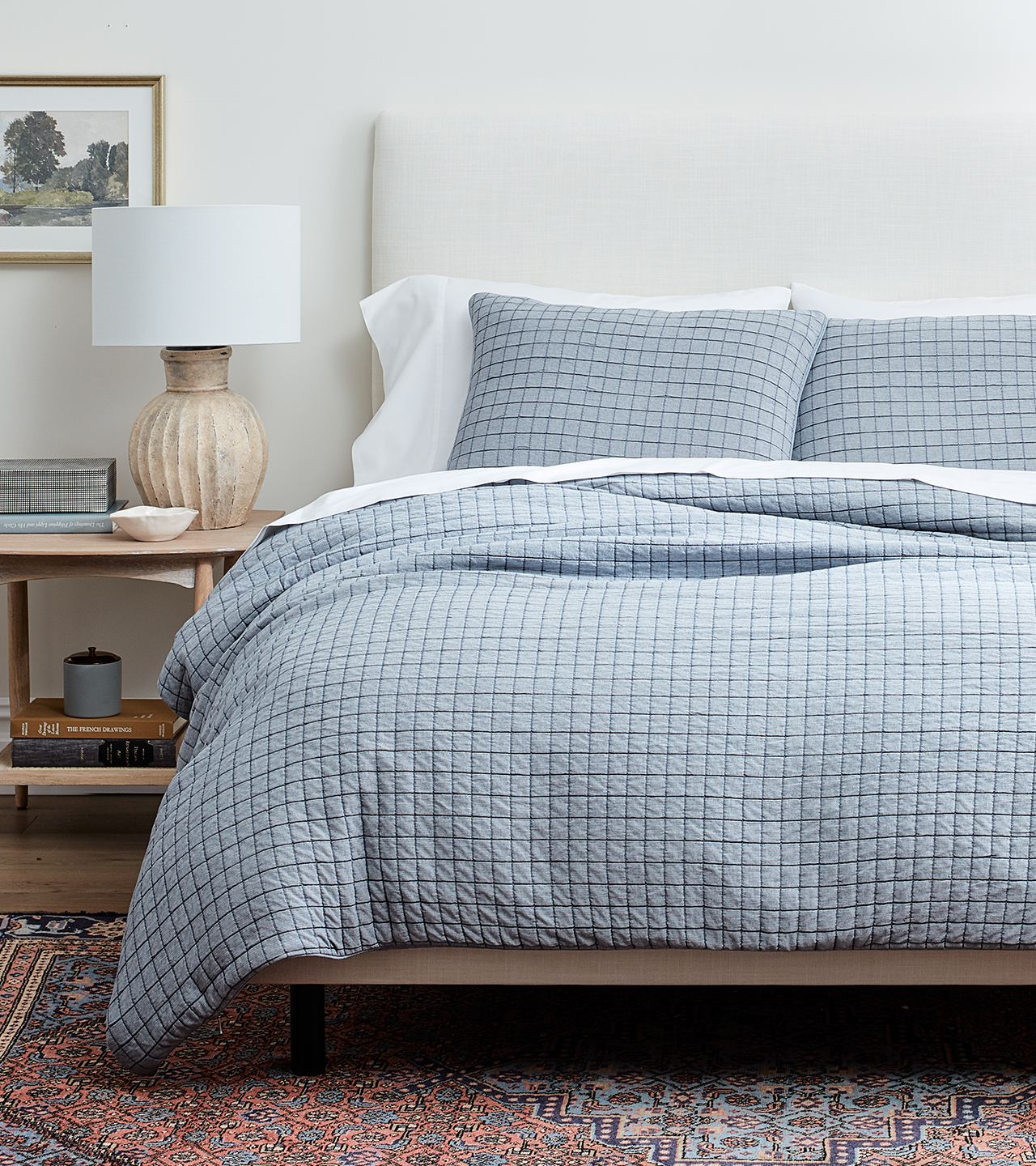 Bed made with Matelasse Duvet Set in Chambray Blue
