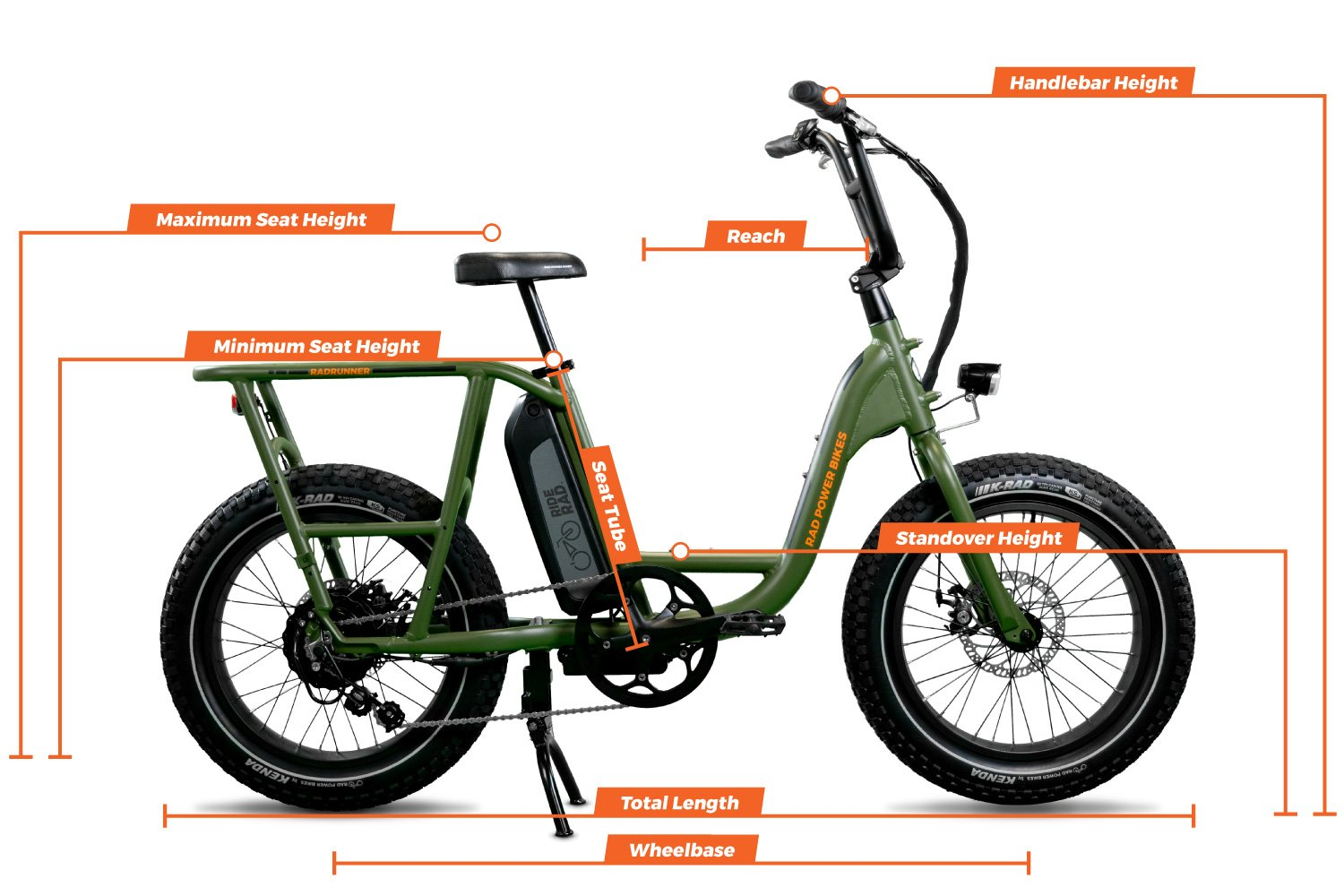 Geometry chart for the RadRunner Electric Utility Bike