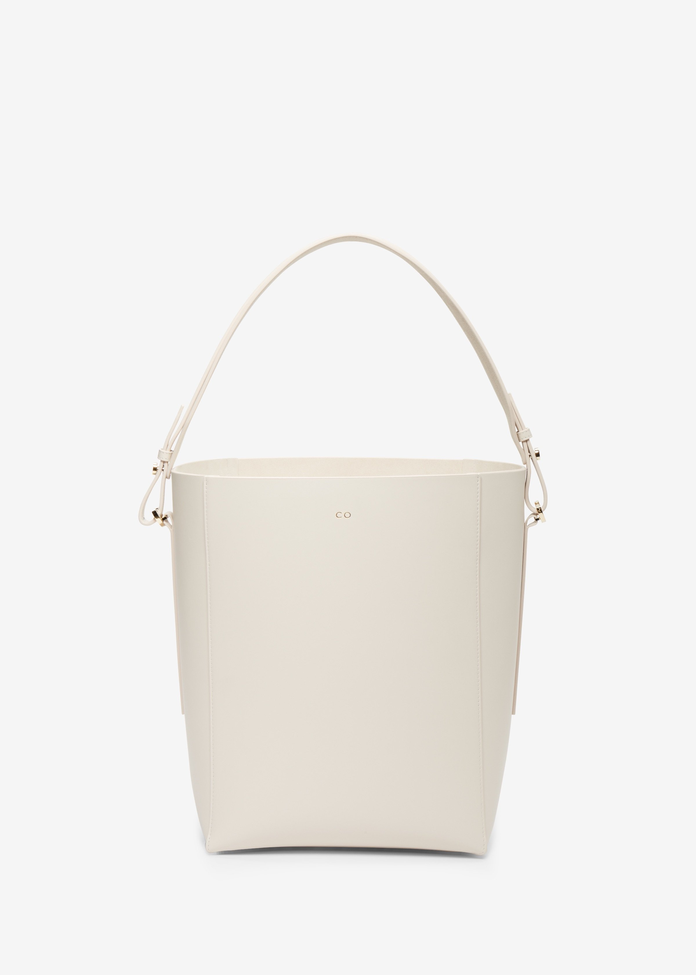 Bucket Bag in Smooth Leather in Ivory by Co Collections