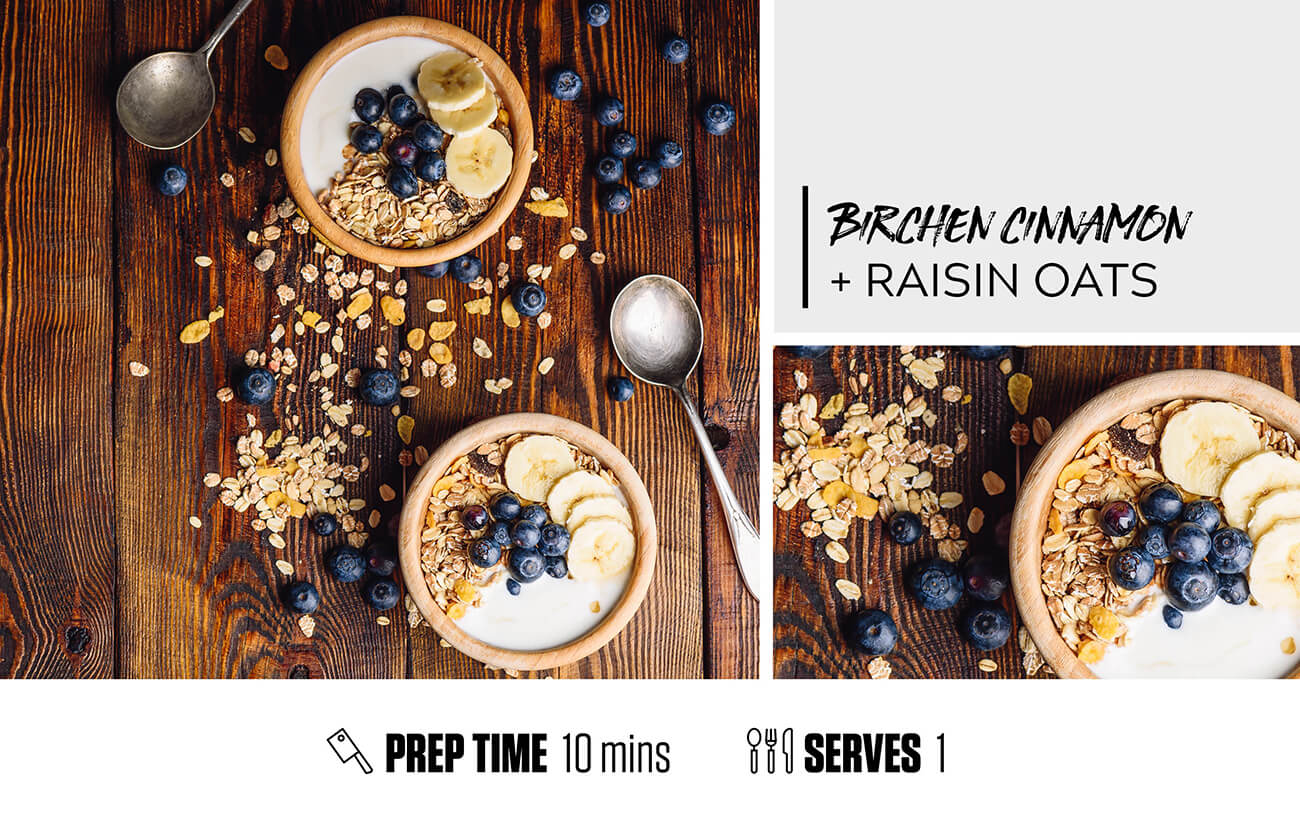 Bircher Cinnamon and Raisin Oats