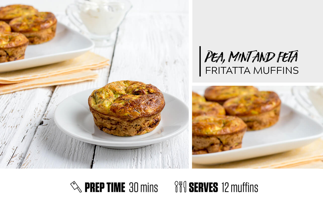 Pea, Mint and Feta Frittata Muffins