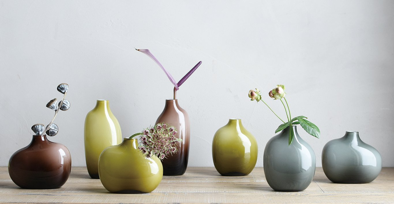 SACCO vase glass brown, green, and gray collection