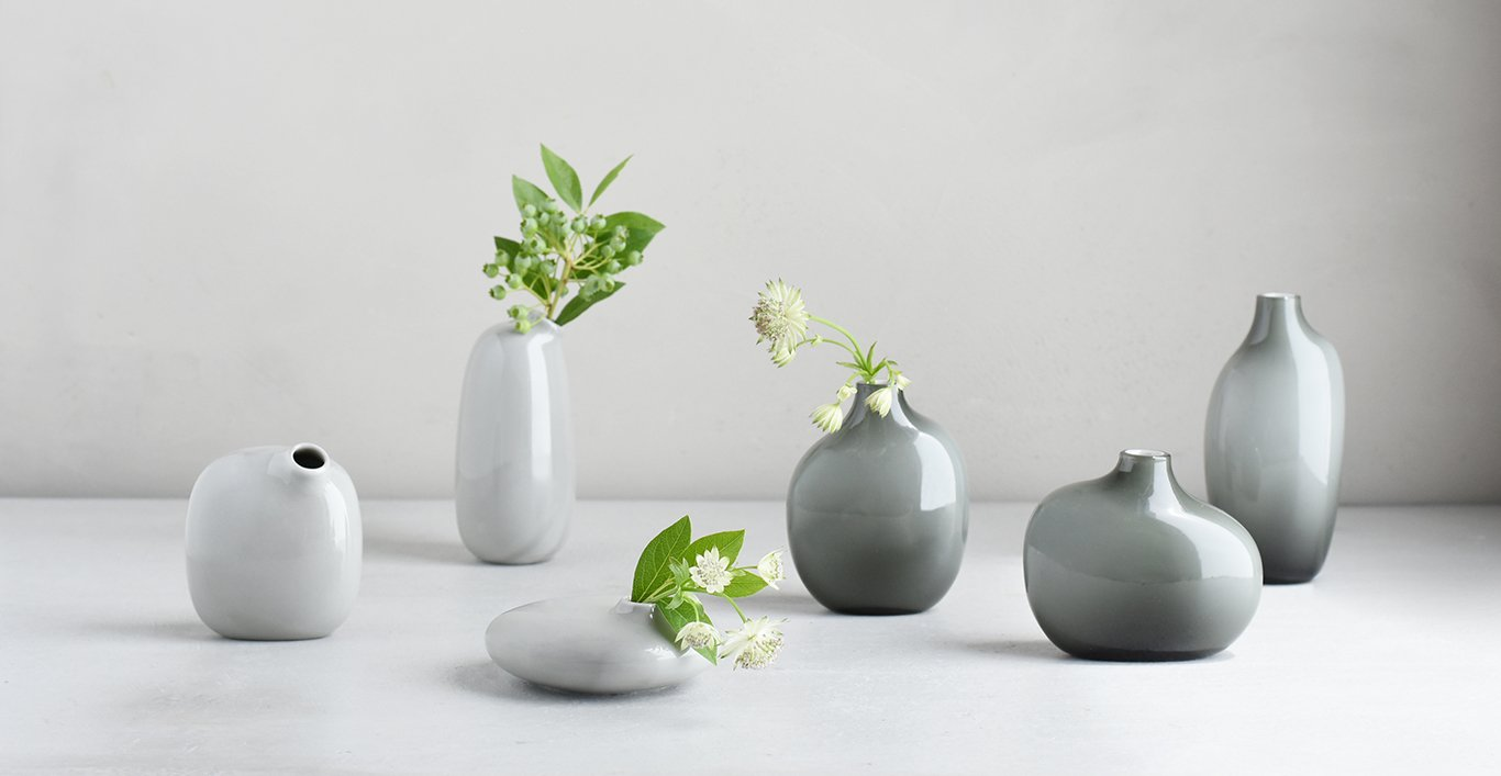 SACCO vase glass and porcelain collection in gray