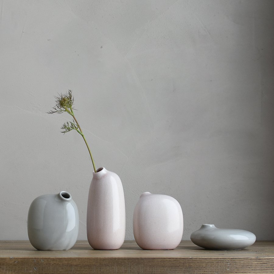 SACCO vase porcelain collection in pink and gray