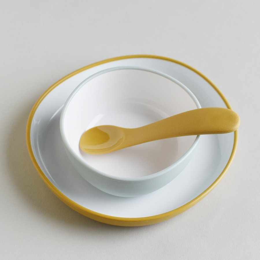 BONBO plate, bowl, and spoon in blue gray and yellow