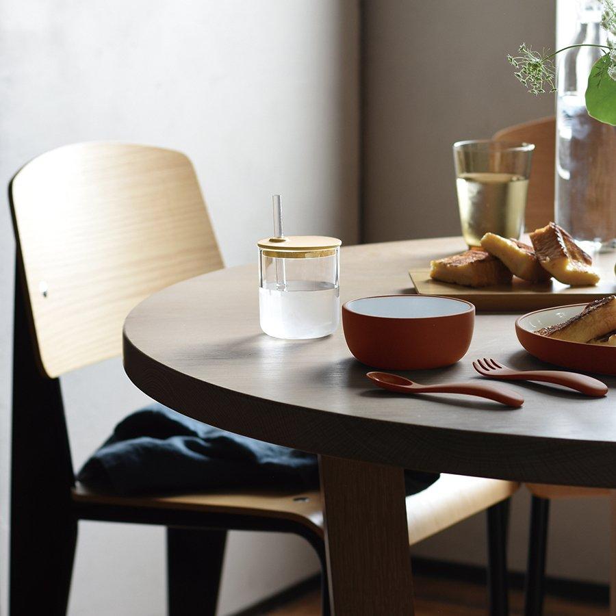 BONBO straw cup, bowl, fork, and spoon on a table