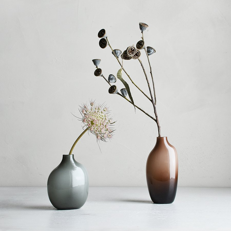 KINTO SACCO VASE GLASS 03 BROWN