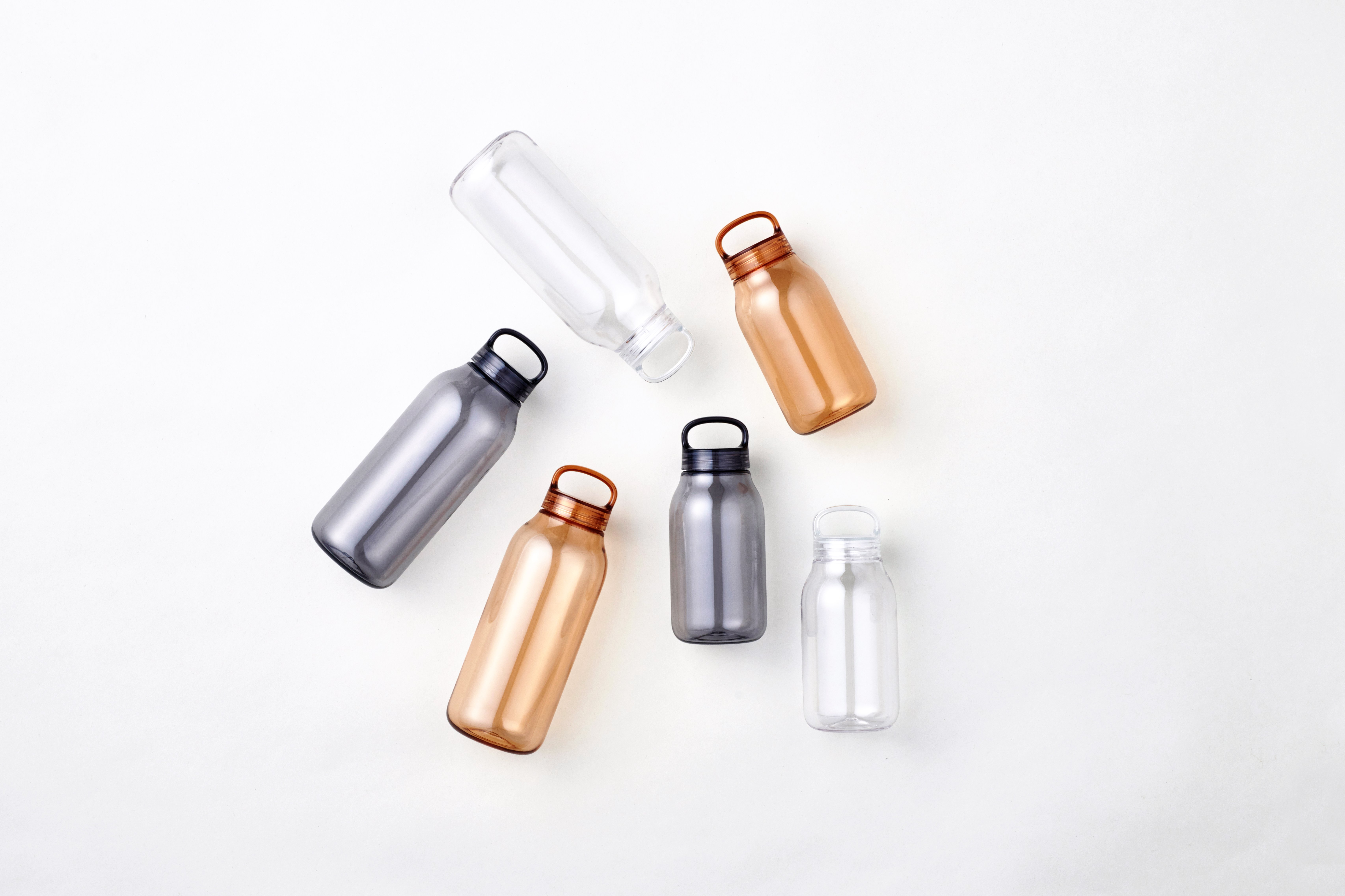 WATER BOTTLE 400ml and 500ml collection in amber, clear, and smoke
