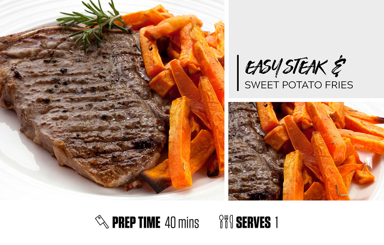 Quick Steak and Sweet Potato Fries
