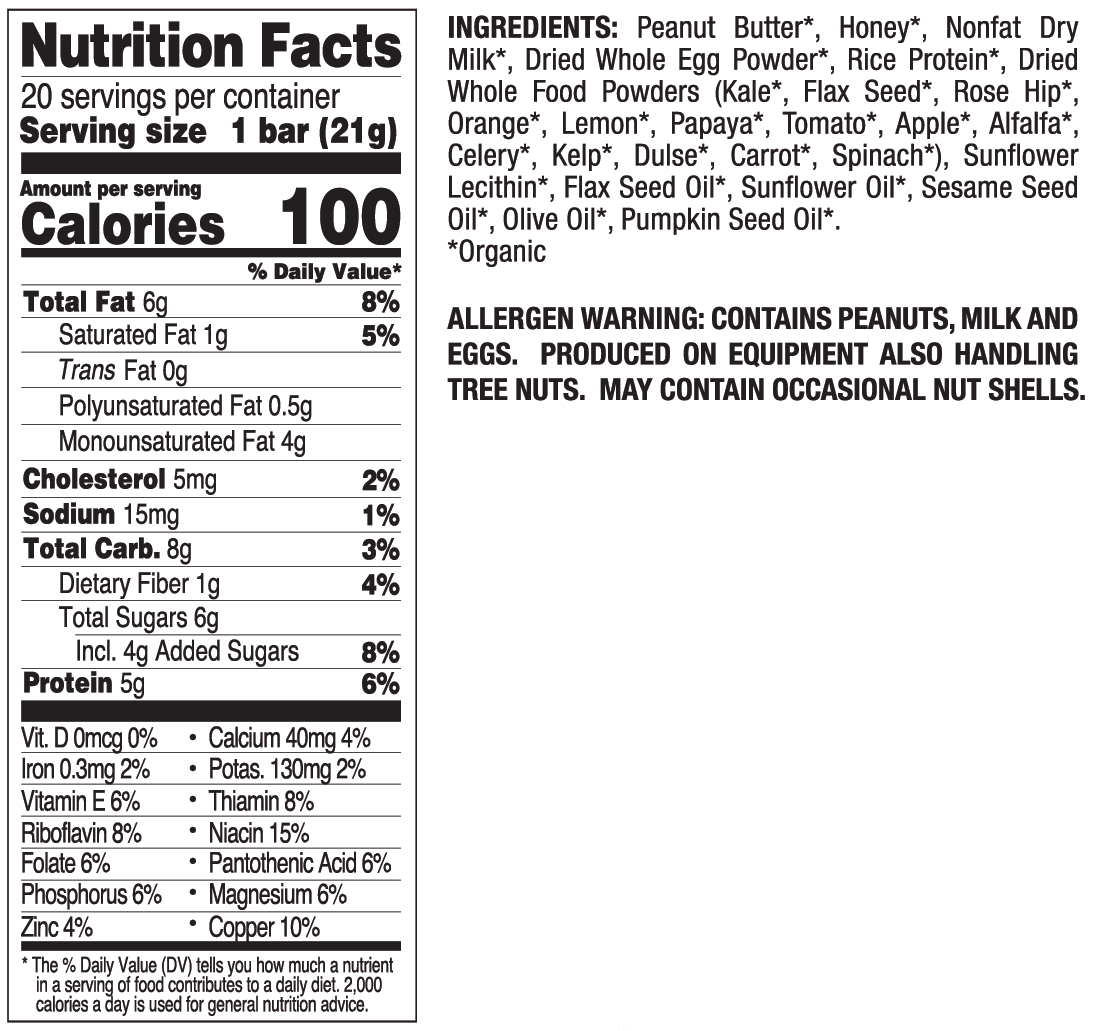 Peanut Butter Mini nutritional information