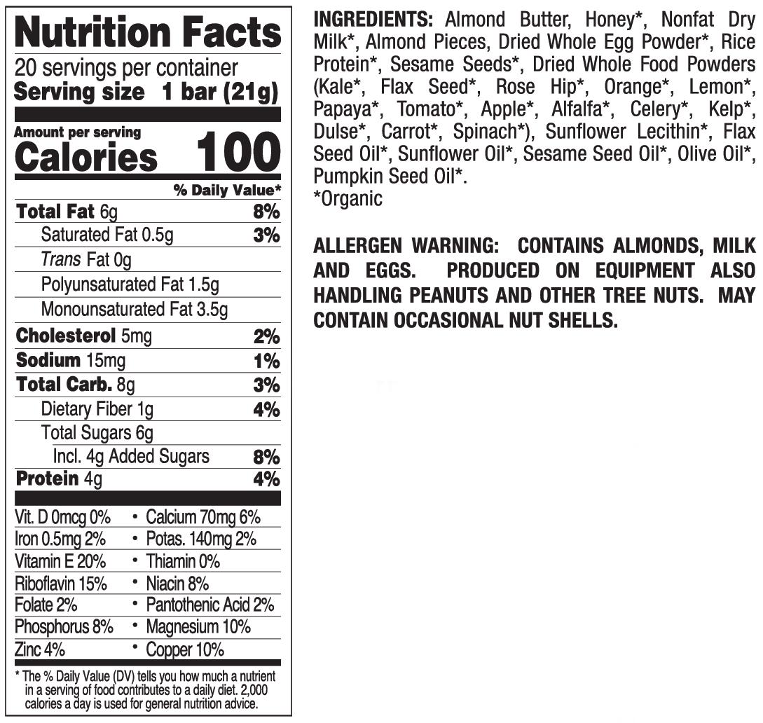 Almond Butter Mini nutritional information