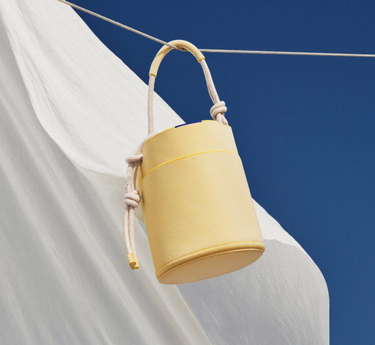 The Belt Bag in Indigo Sky shown on model.