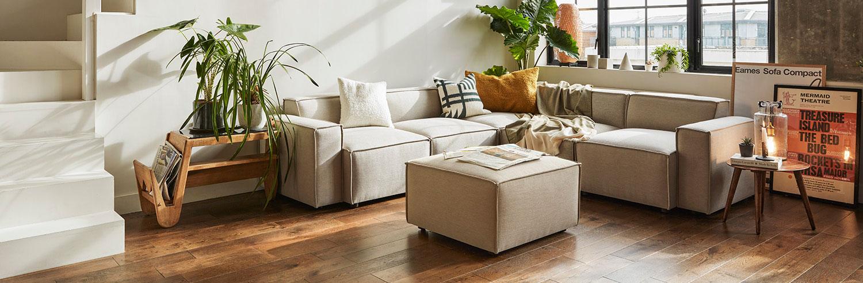 Model 03 Corner Sofa with Ottoman in Pumice Linen