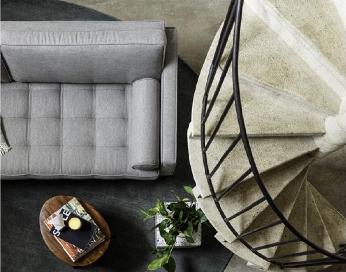 Birdseye view of model 02 sofa in shadow linen
