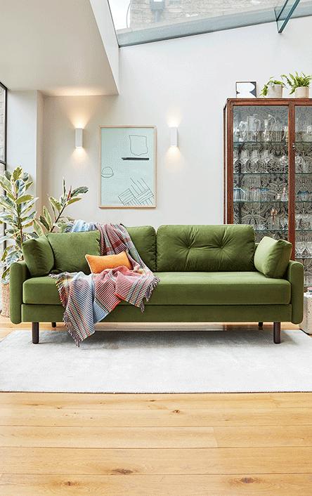 Model 04 velvet vine three seater sofa bed