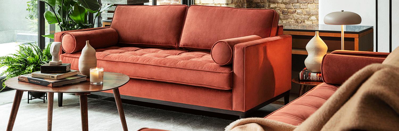 Model 02 sofa set in brick velvet