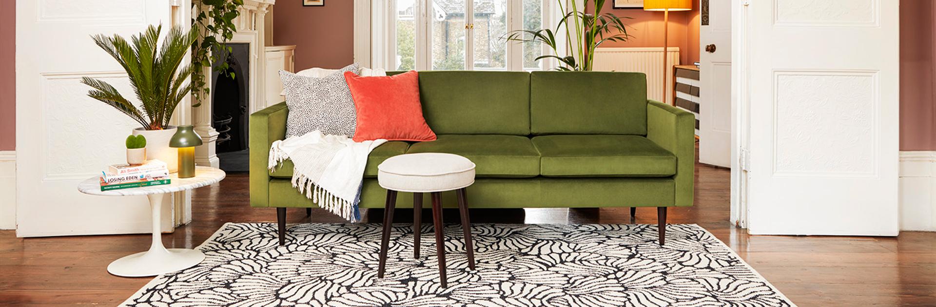 Model 01 3 seater sofa in vine velvet