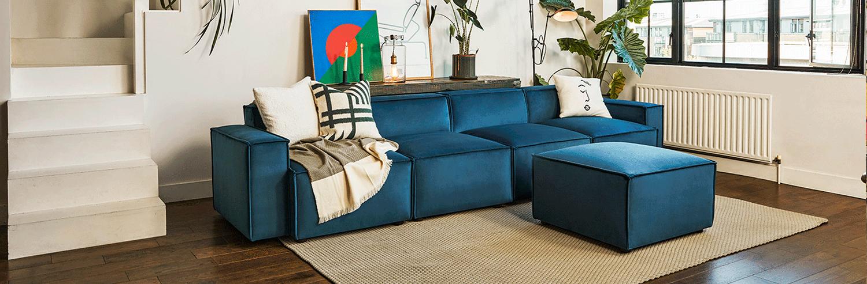 Model 03 4 Seater Sofa in Teal Velvet