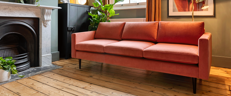 Model 01 3 seater sofa in brick velvet