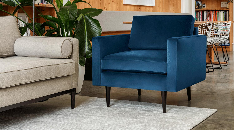 Model 01 Armchair in Teal Velvet with Model 02 Sofa in Pumice Linen