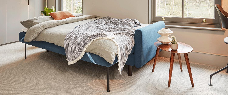 Model 04 Sofa Bed in Teal Velvet setup as Bed