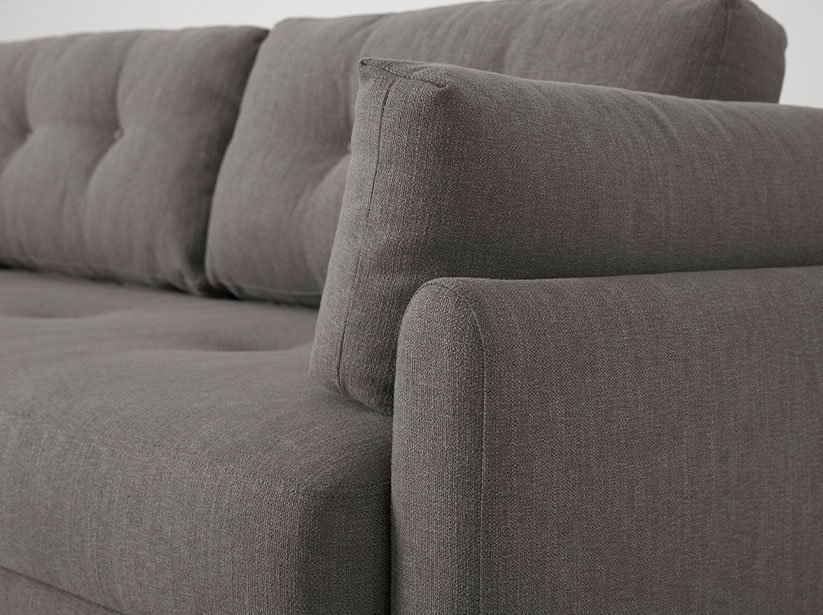 Close up of Model 04 Sofa Bed arm and cushions