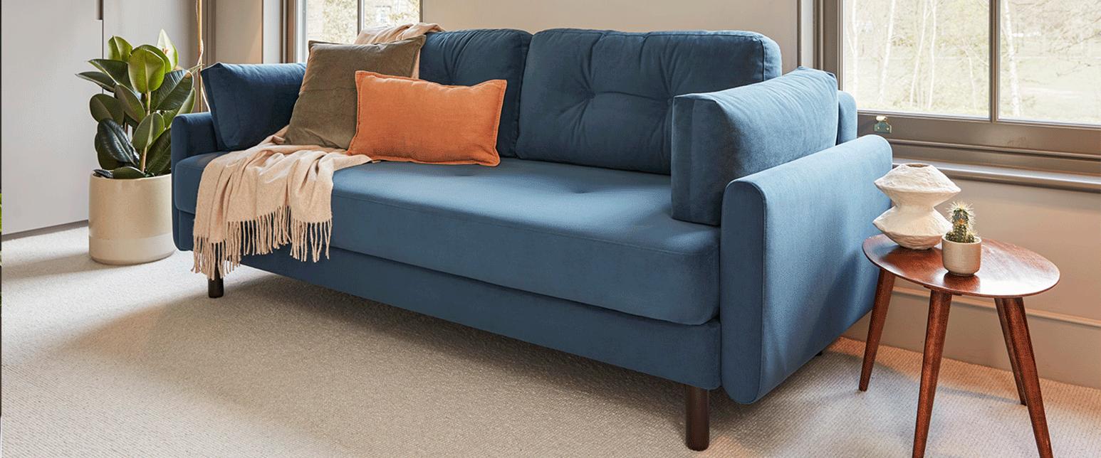Model 04 Teal Velvet Sofa Bed