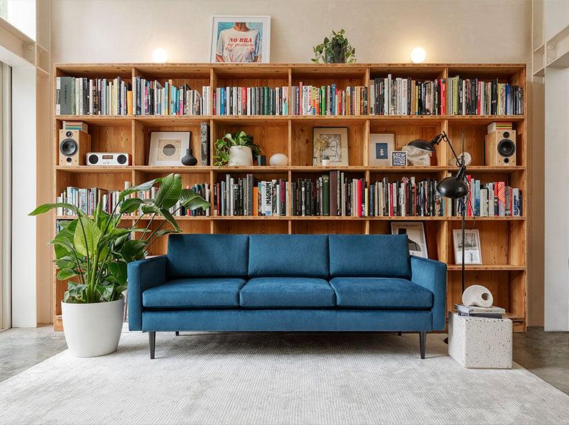 Model 01 3 Seater Sofa in Teal Velvet