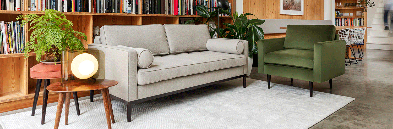 Model 01 Armchair in Vine Velvet with Model 02 Sofa in Pumice Linen