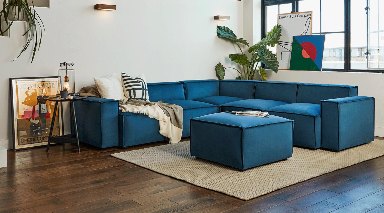 Model 03 Corner Sofa with Ottoman in Teal Velvet