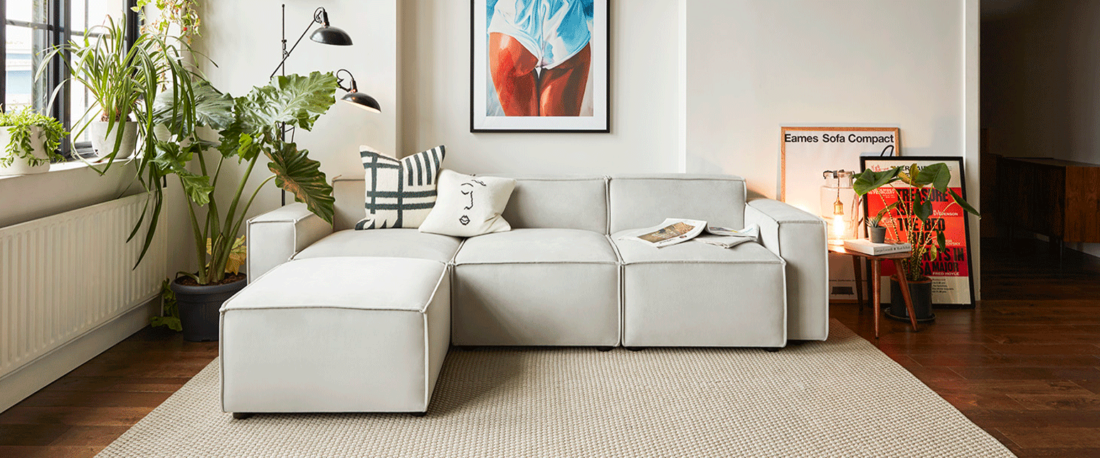 Model 03 3 Seater Sofa with Chaise in Light Grey Velvet