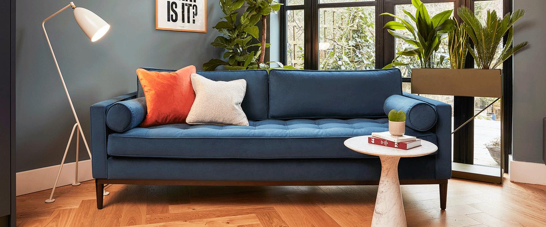 Model 02 Sofa in Teal Velvet