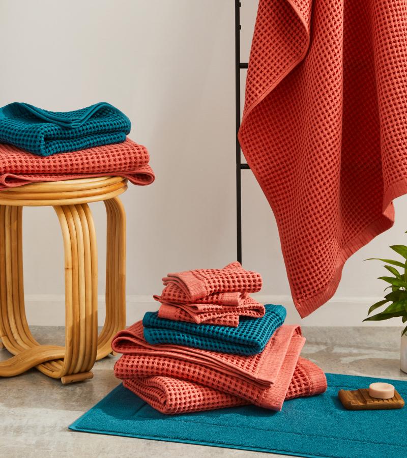 Bathroom scene featuring Brooklinen's latest Bath Towel collection.