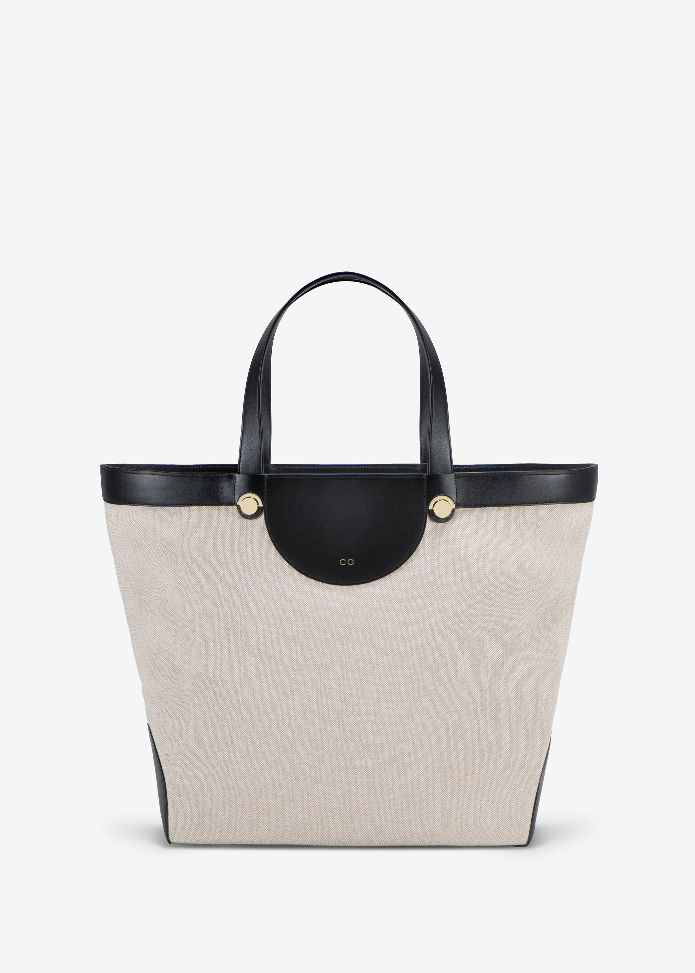 Collector Tote in Linen and Leather in Natural / Black by Co Collections
