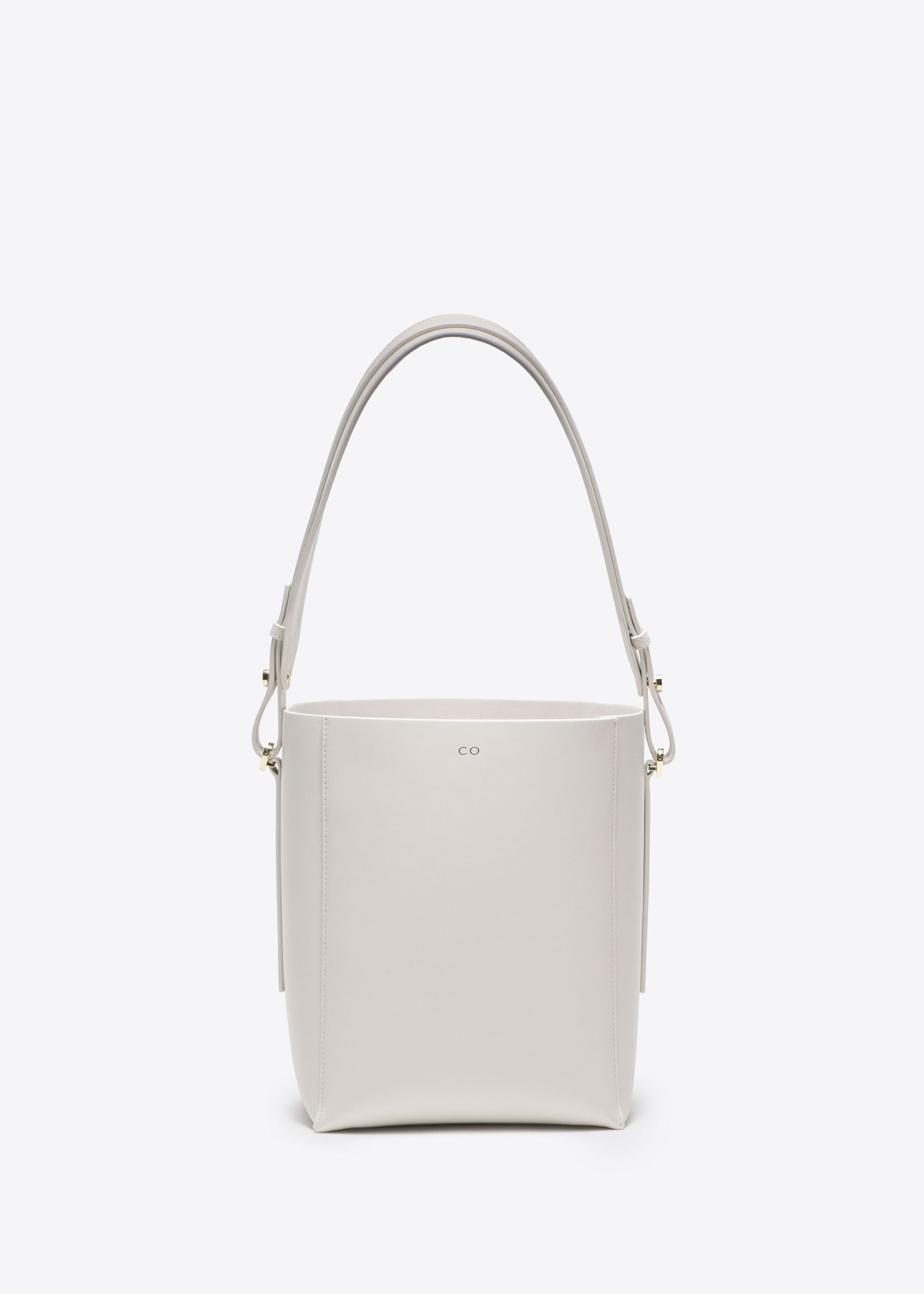 Small Bucket Bag in Smooth Leather in Ivory by Co Collections