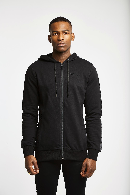 Muller Zipped Hoodie - Black