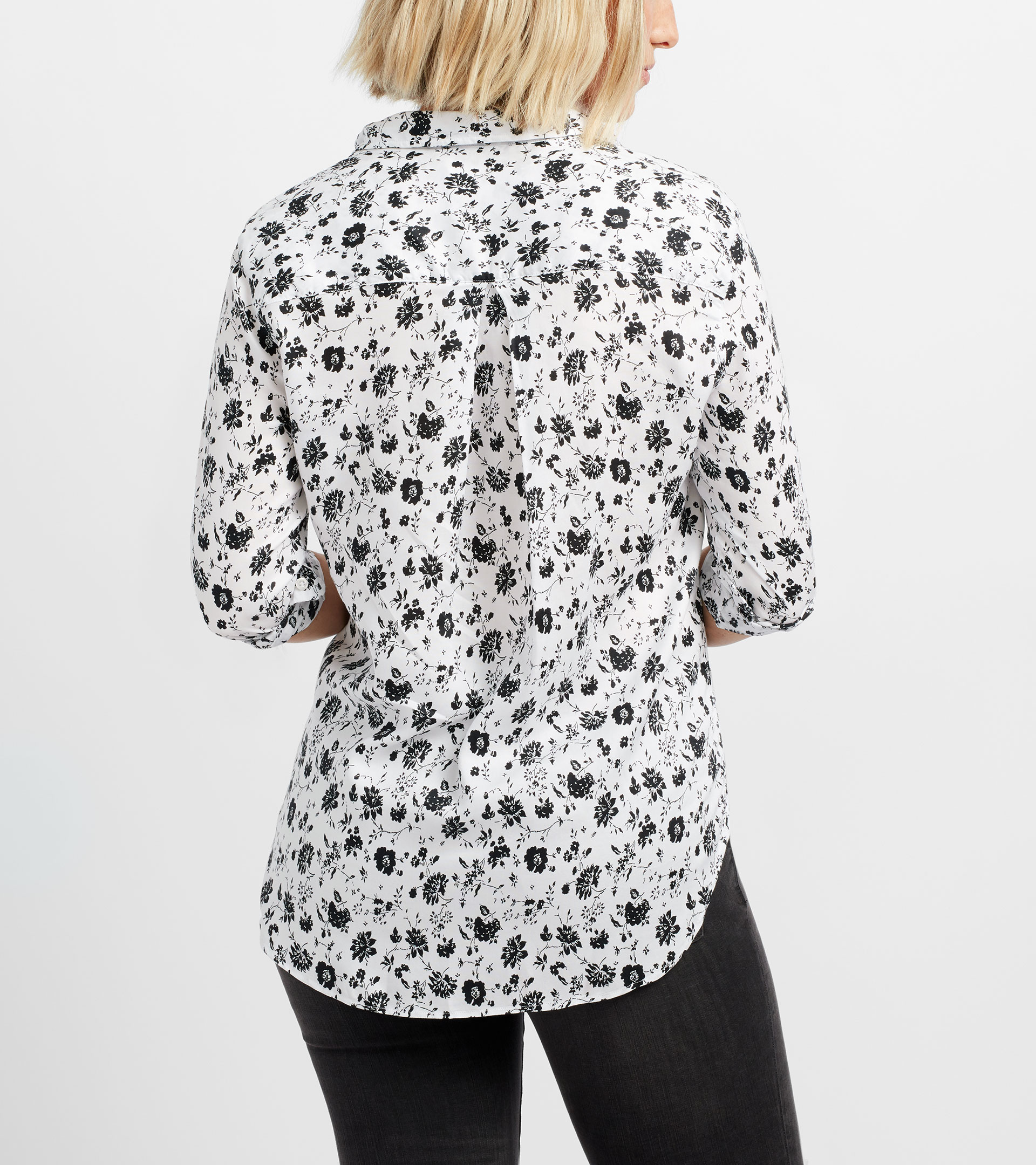 Image of The Hero White with Black Floral, Liquid Lyocell Sale