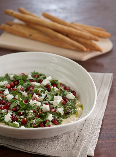 Hummus, Basil Pesto, Feta & Pomegranate Salad