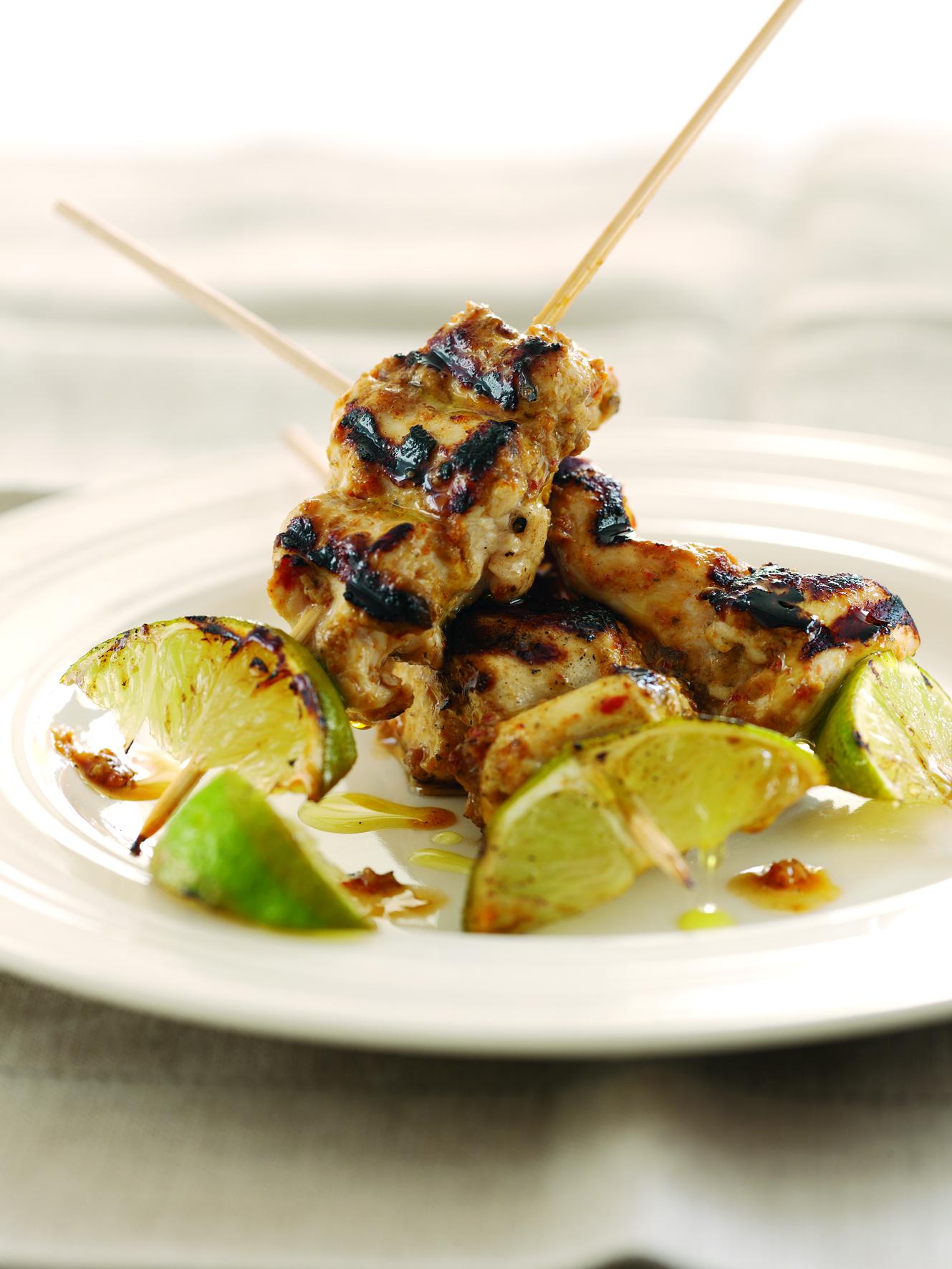 Char-Grilled Aubergine Pesto Chicken Skewers