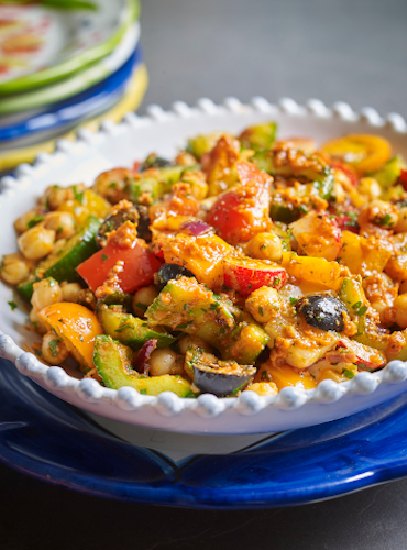 Vegan Tomato Pesto Chickpea Salad
