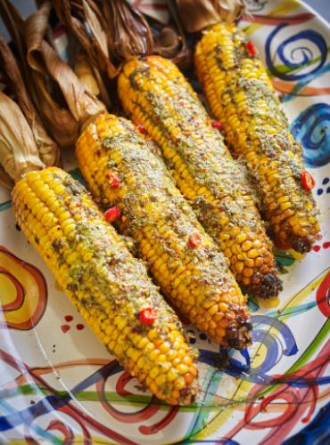 Roasted Corn on the Cob with Coriander Pesto