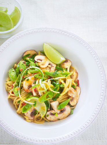 Spicy Mushroom Noodles with Fresh Coriander Pesto