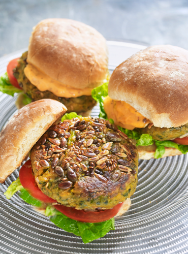 Sweet Potato Burgers with Tomato Pesto Mayonnaise
