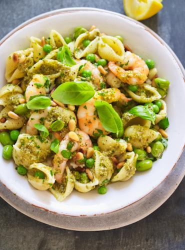 Basil Pesto Prawn, Pea and Pasta Salad
